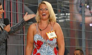 Josie Gibson enters the Big Brother house grinning
