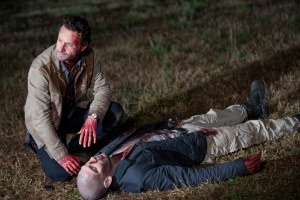 Rick Grimes (Andrew Lincoln) and Shane Walsh (Jon Bernthal) - The Walking Dead - Season 2, Episode 12 - Photo Credit: Gene Page/AMC