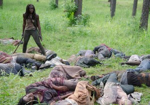 Walkers and Michonne (Danai Gurira) - The Walking Dead _ Season 4, Episode 9 - Photo Credit: Gene Page/AMC